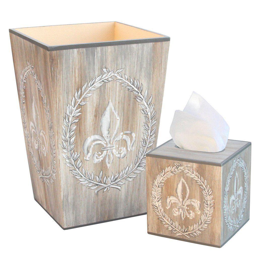 Allen G Designs Hand Painted Wooden Wastebasket And Tissue Box Set Fleur De Lis