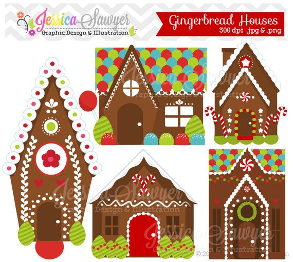 INSTANT DOWNLOAD, gingerbread house clipart or gingerbread ...