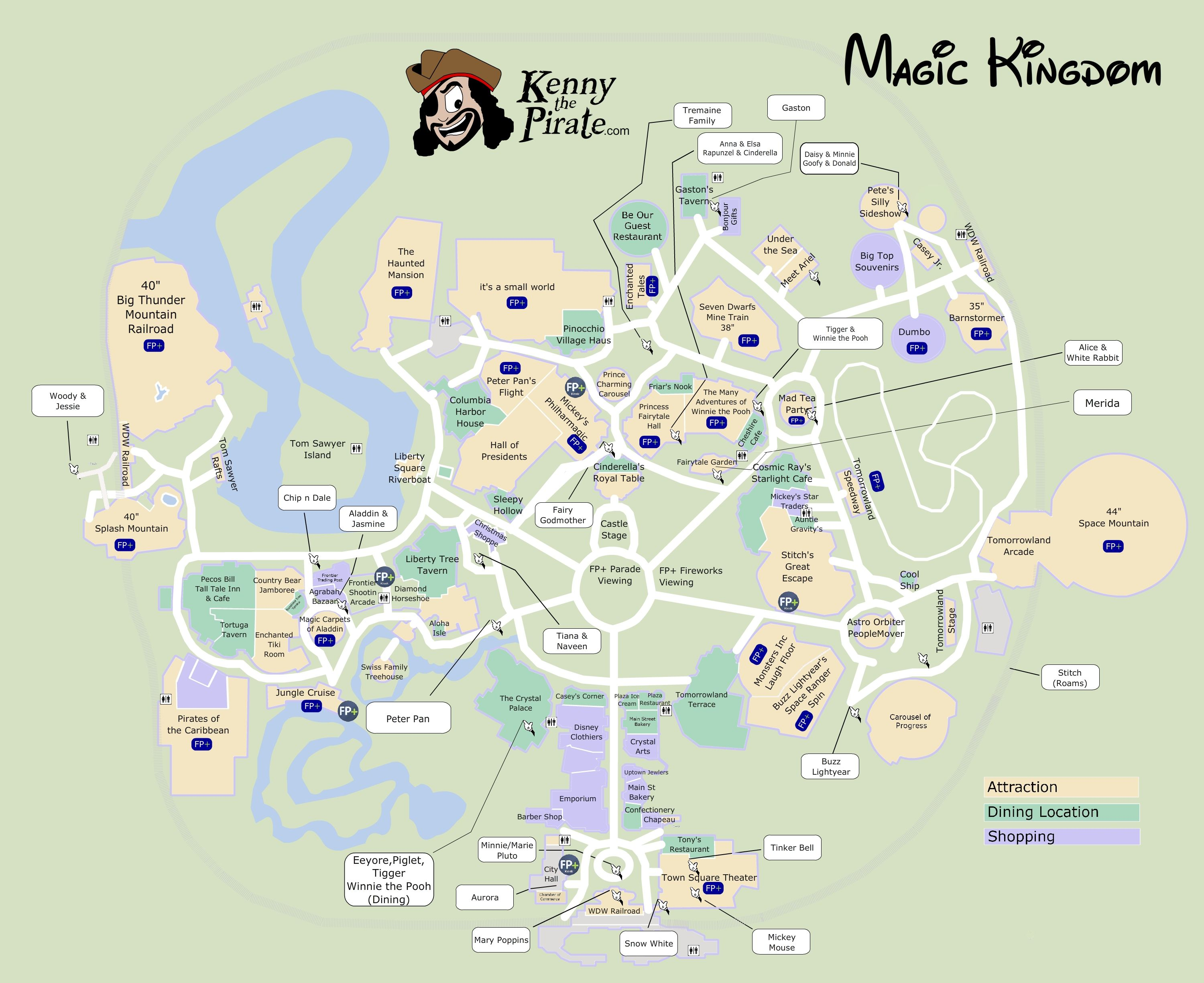 Great Map Of Magic Kingdom With Fastpass Plus Locations, Rides, Shows,  Characters, Dining And Shopping Locations   From KennythePirate #dvcrentals