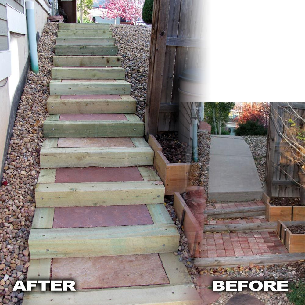 Best Timber Stairs With Flagstone Inserts Built By Glacier View 640 x 480