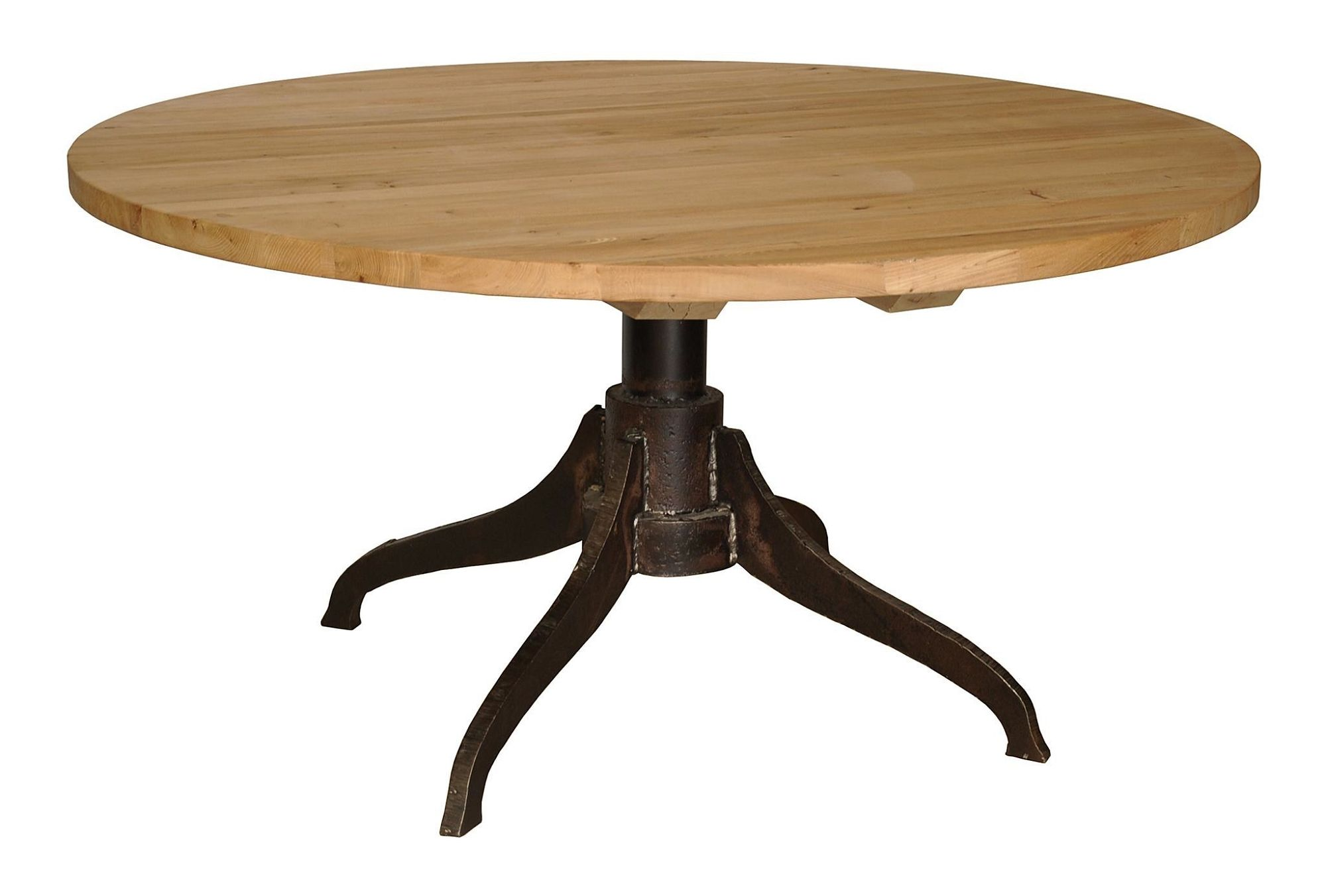 Reclaimed Wood Round Industrial Dining Table Lake Tahoe - Wood dining room table tops