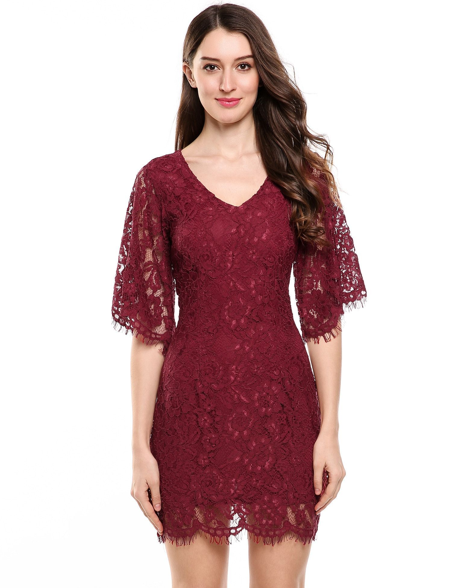 Red vneck half flare sleeve floral lace hollow out going out dress