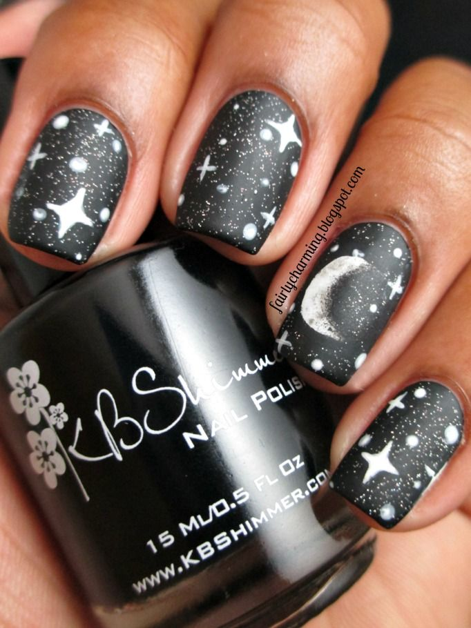 Moon and Stars - 20 Easy Christmas Nail Art Ideas Nails Pinterest Nails, Nail