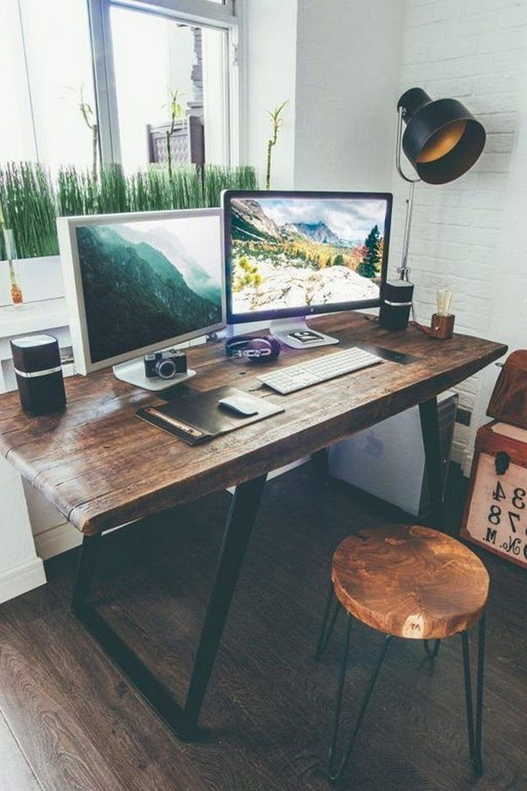 25 Admirable Diy Farmhouse Desk Design Ideas For Office With Images Home Office Table Computer Desk Design Work Space Decor