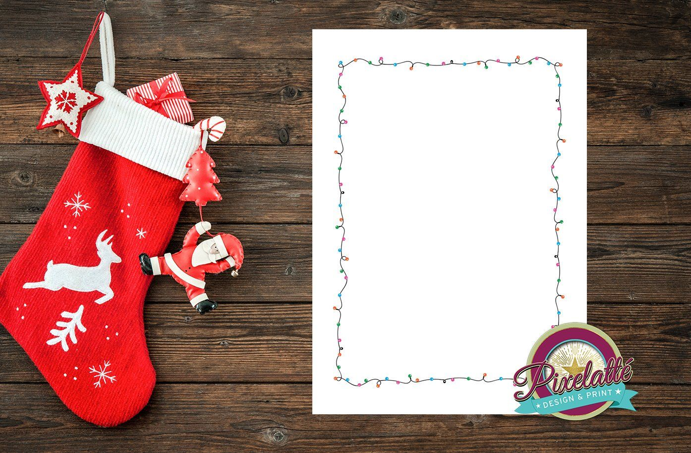 stocking template a5  A7 Christmas Fairy Light Border Flyer Poster Template ...