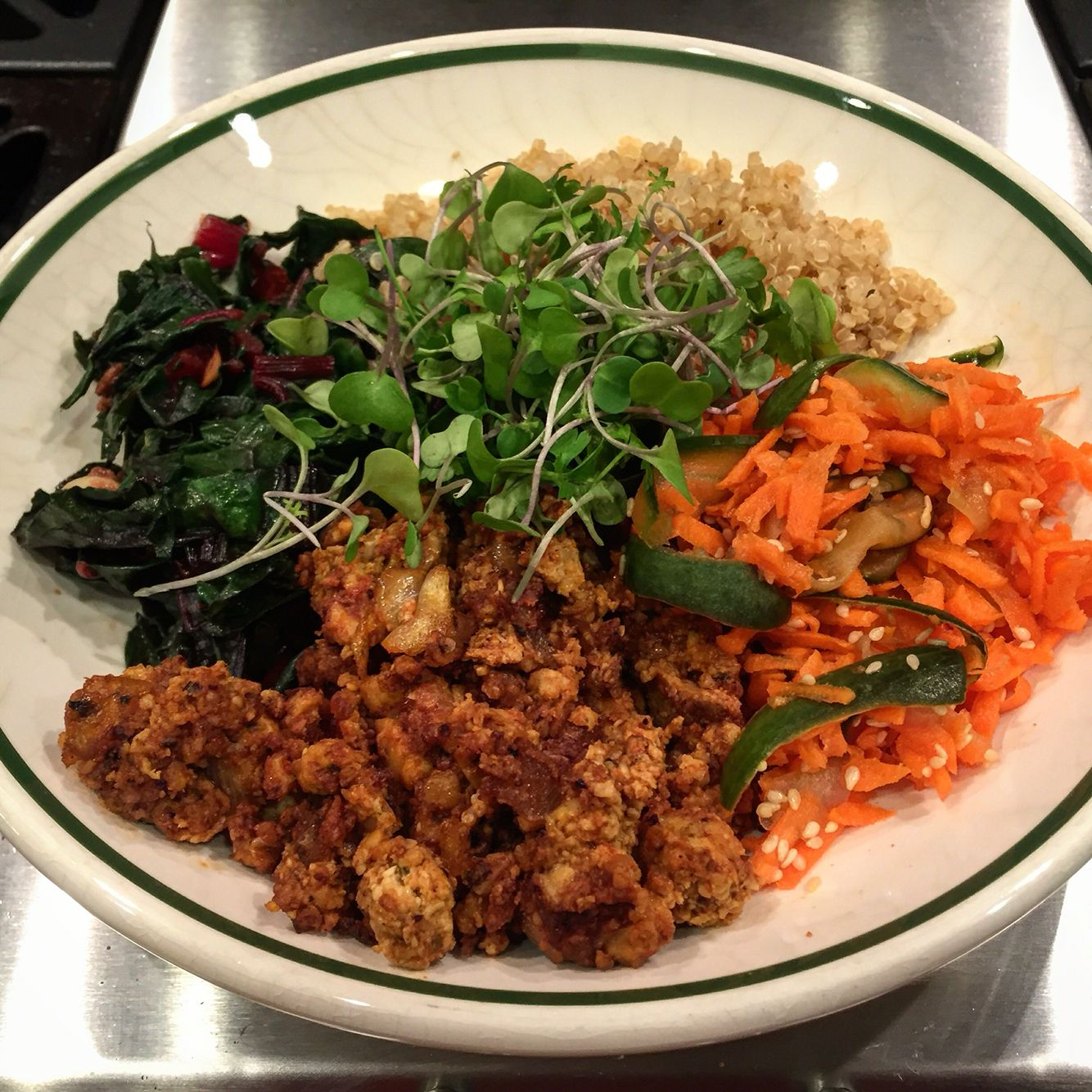 Rainbow Bowl - Bbqed Hemp, Pickled Carrots & Cucumbers, Quinoa & Garlicky Red Chard with Microgreens