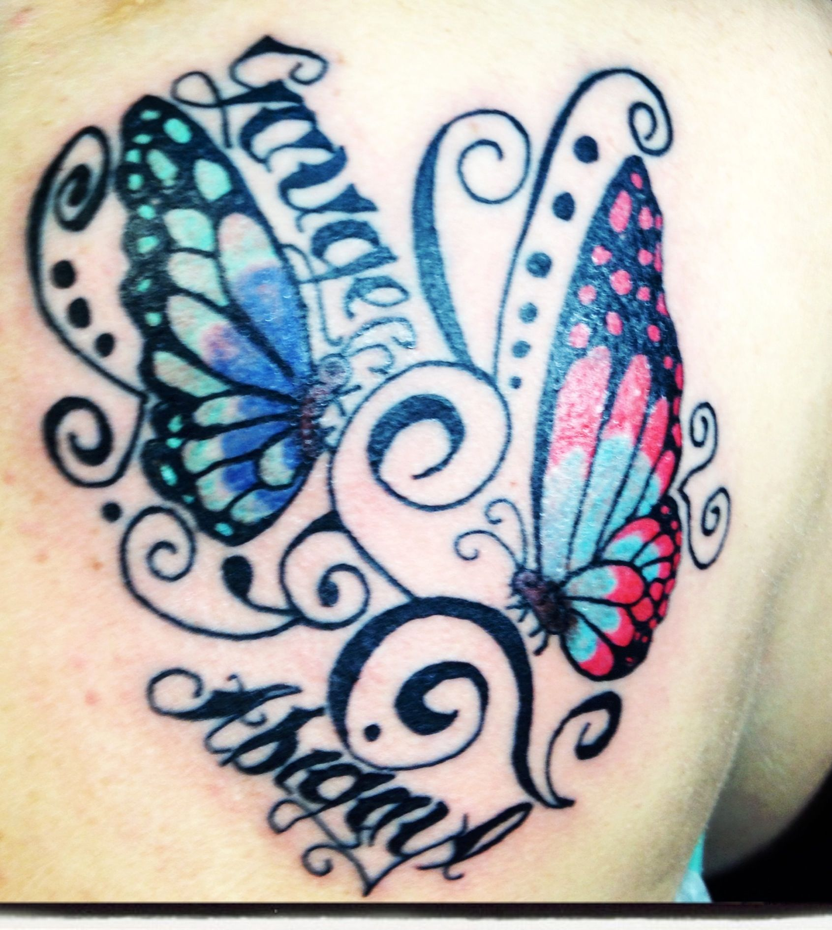 Butterfly tattoo with children 39 s names tattoo ideas for My name in tattoo