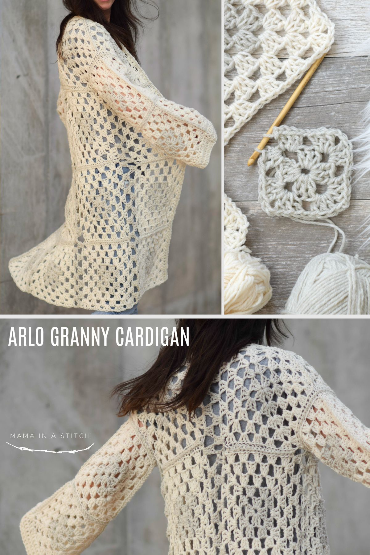 Arlo Granny Square Crocheted Cardigan Pattern (Mama In A Stitch) #grannysquareponcho