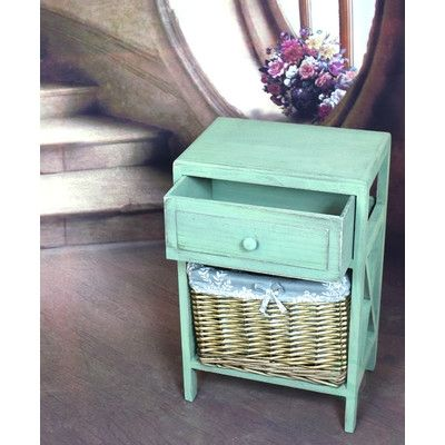 1 Drawer Distressed Washed Wood Cabinet Chest by Wayfair