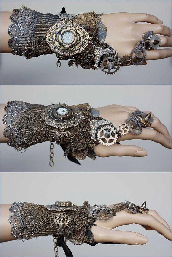 Cuff Pinkabsinthe Steampunk Gothic Jewelry Spiked Gears Love