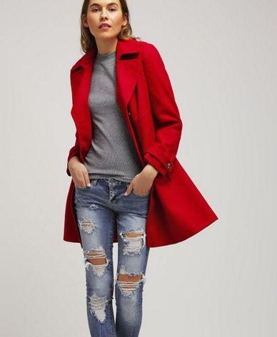 Wallis Krótki płaszcz czerwony dwurzędowy red | Płaszcze ...