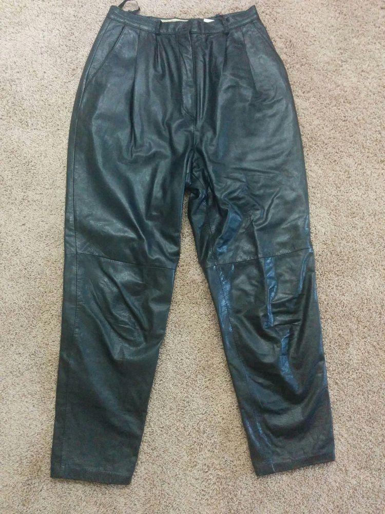 Evan Davies black 100% leather pleated high waist pants, Size 10, #1586 #EvanDavies #Leather