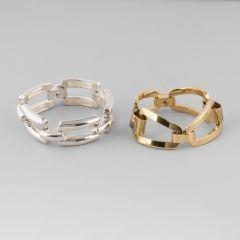 Céline.  Deux bracelets en métal articulé #BuyArtOnline #Expertissim