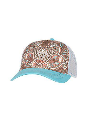 9e8958cc3e421 Ariat Women s Blue Paisley Print Logo Mesh Back Cap