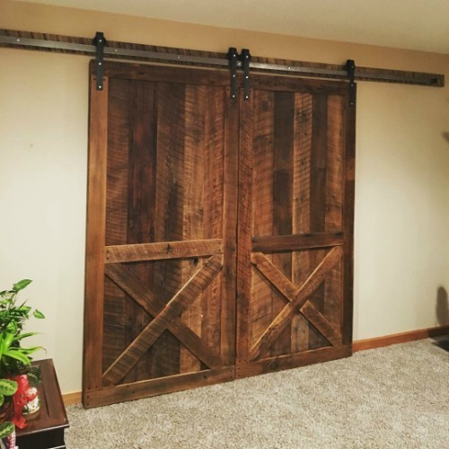 Double Reclaimed Barn Doors With 12 Sliding Barn Door Hardware Kit Interior Barn Doors Sliding Doors Interior Modern Sliding Barn Door