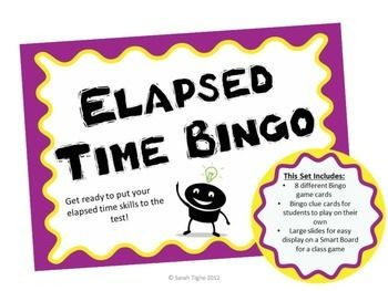 Elapsed time made easier with my What's the TIME-O Bingo!Students will practice telling time skills with this fun elapsed time game! This set includes 8 different What's the TIME-O game cards, What's the TIME-O clue cards, and large slides for easy display on a SmartBoard or Promethean Board.