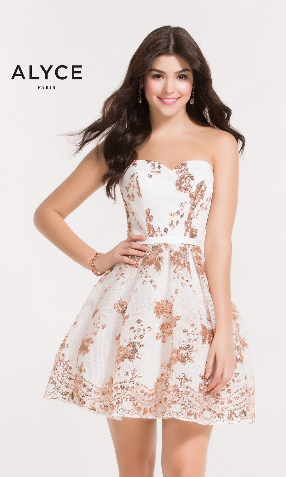 5fc3c86daea Get plenty of sunshine in Alyce 2650. This adorable net party dress  blossoms with rose gold sequin flowers