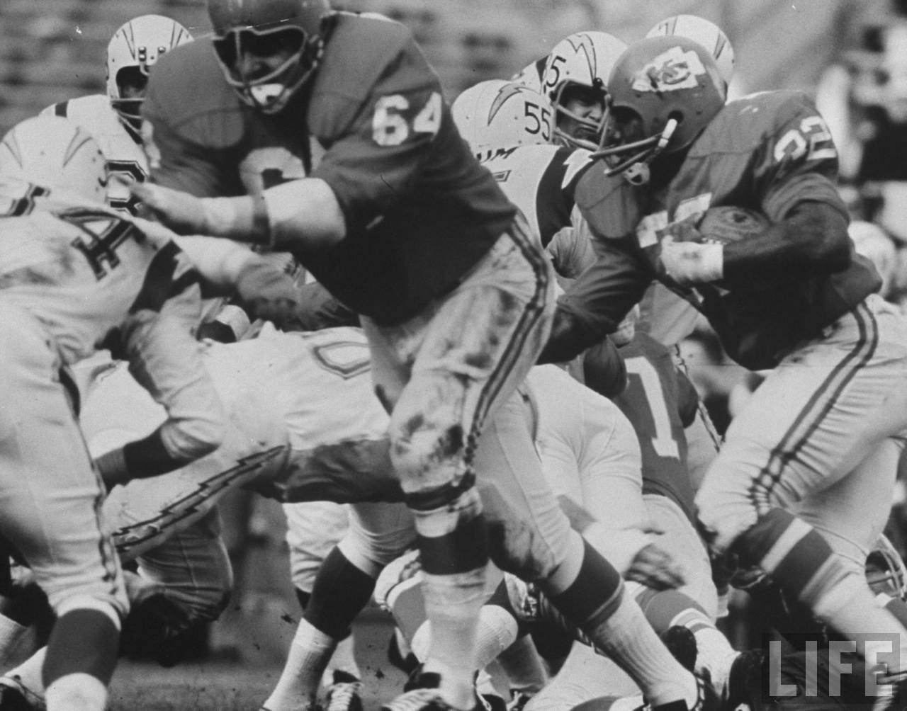 Kansas City Chiefs playing Chargers in 1965 Footbal