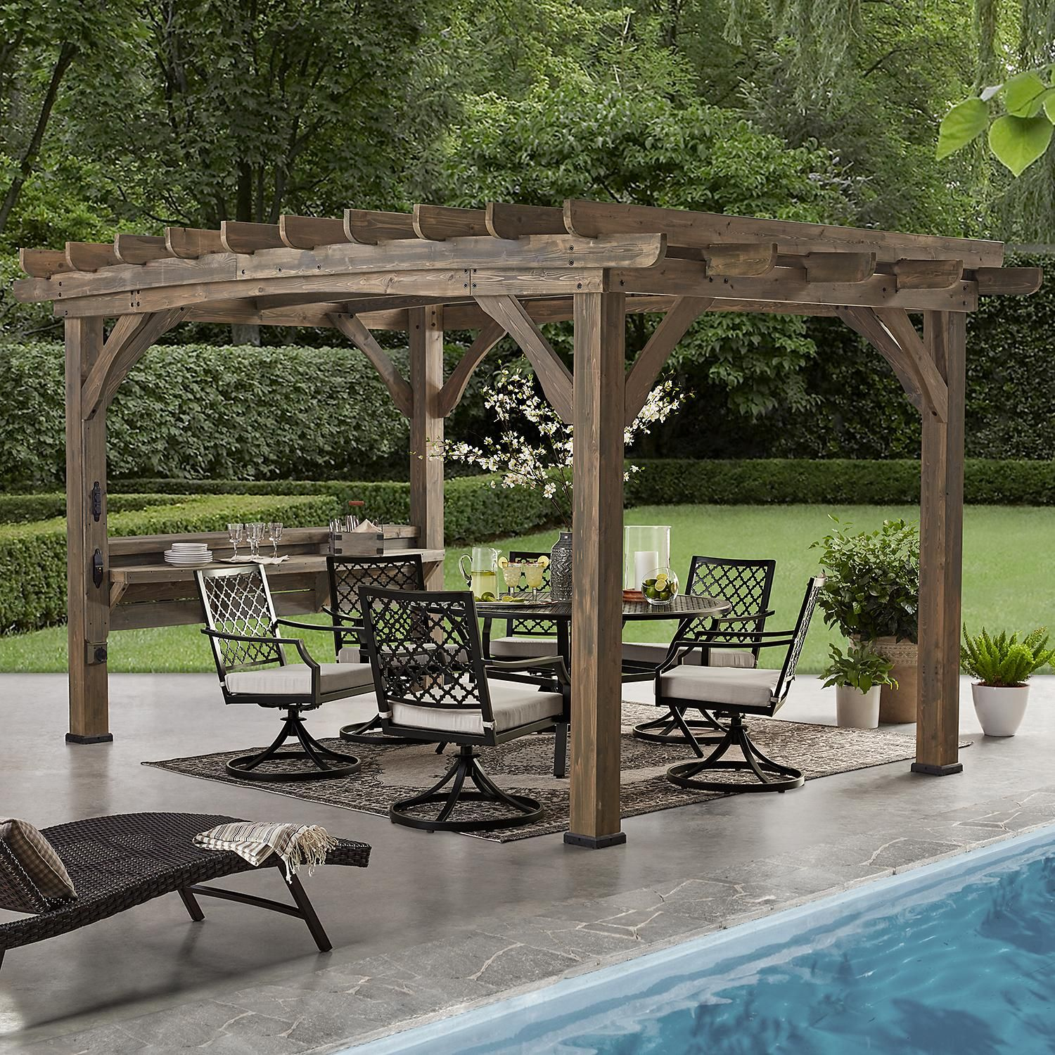 Backyard Discovery 14 X 10 Silverton Pergola With Electric Outlets Barnwood Sam S Club In 2020 Outdoor Pergola Pergola Backyard Pergola