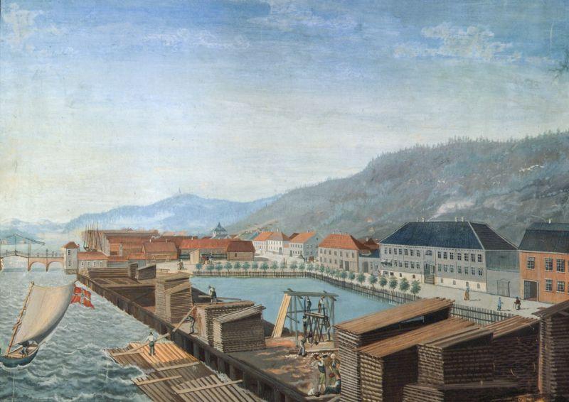 Bragernes Med Bybrua Fra 1813 Og Smiths Store Bygard H P Dahm Ca 1814 Bilder Norge Steder