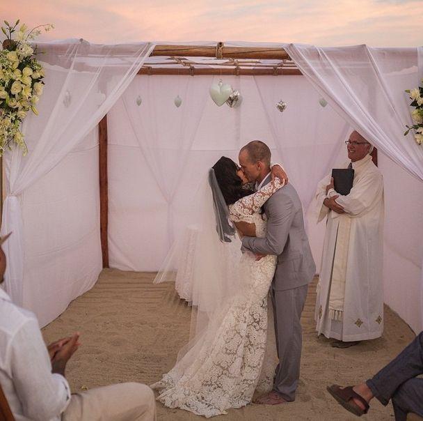 Naya Rivera and Ryan Dorsey at their wedding in Cabo