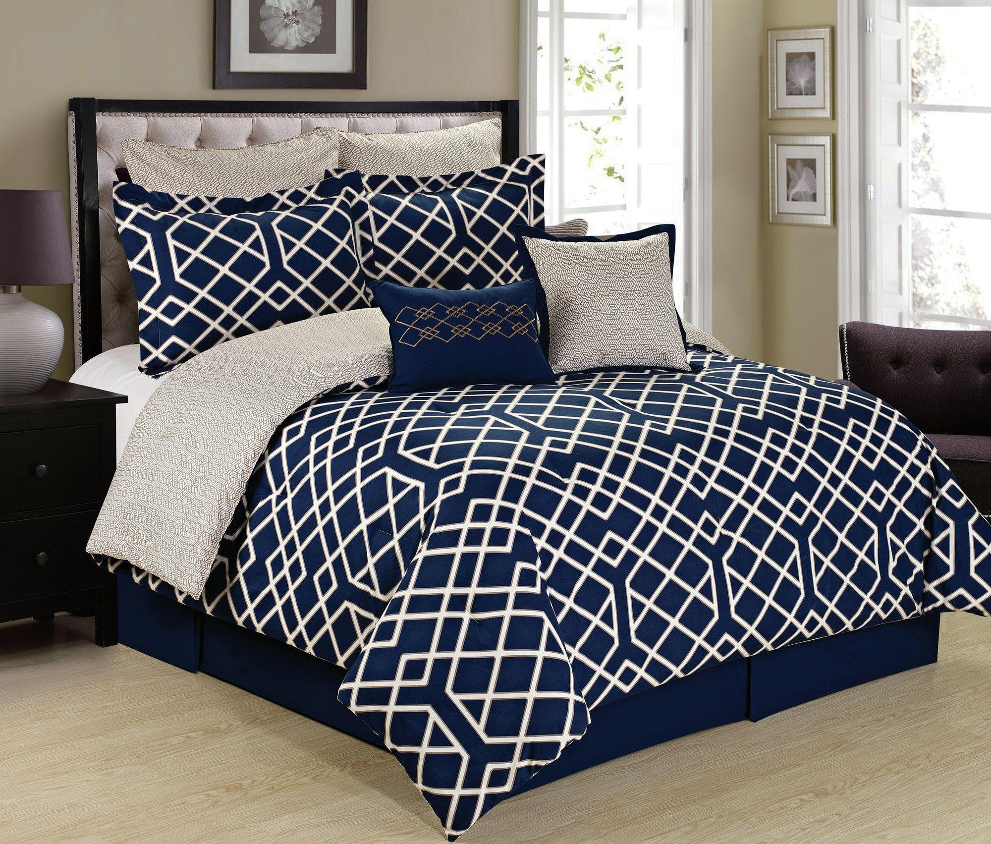 Semaj Reversible Comforter Set Comforter Sets Navy Bed Set Trellis Comforter
