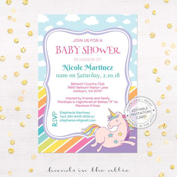 Unicorn invitation printable baby shower unicorns and rainbows DIY - baby shower card template
