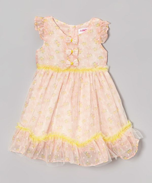 Look at this Rose Kelly Pink Lace Bow Ruffle Dress - Infant, Toddler & Girls on #zulily today!