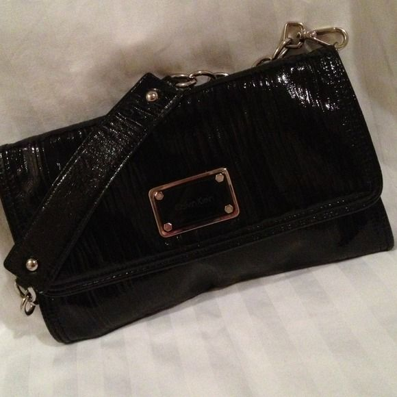 Black Patent Clutch Purse Silver Sassy In A Unique Textured Leather