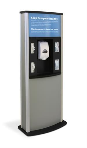 Infection Control Kiosk With Hygiene Sign Woodgrain Infection