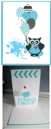 Owl Builder, small oval (balloons), Chevron Border punch, Cupcake Builder, Happiest B'day and Grunge stamps, Tempting Turquoise