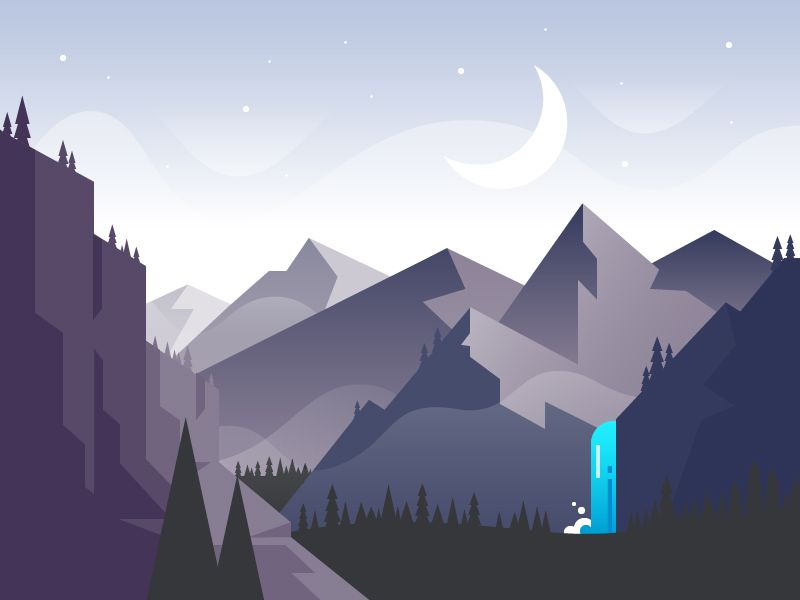 Waterfall Mountain Illustration Landscape Illustration Scenery Wallpaper