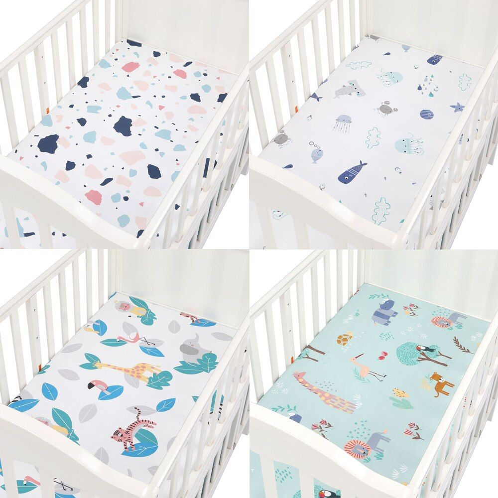 100 Cotton Baby Fitted Sheet Cartoon Crib Mattress Protector Baby Bed Sheet Soft Newborn Bed Sheet Cover For Crib Crib Mattress Protector Newborn Bed Baby Bed