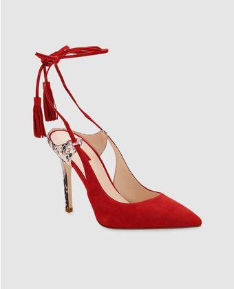 De Rojos Mujer Zapatos Guess Salón Piel 0wPnO8k