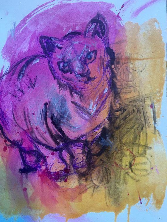 Midcentury Modern Cat Painting Original Painting by SKColeArt