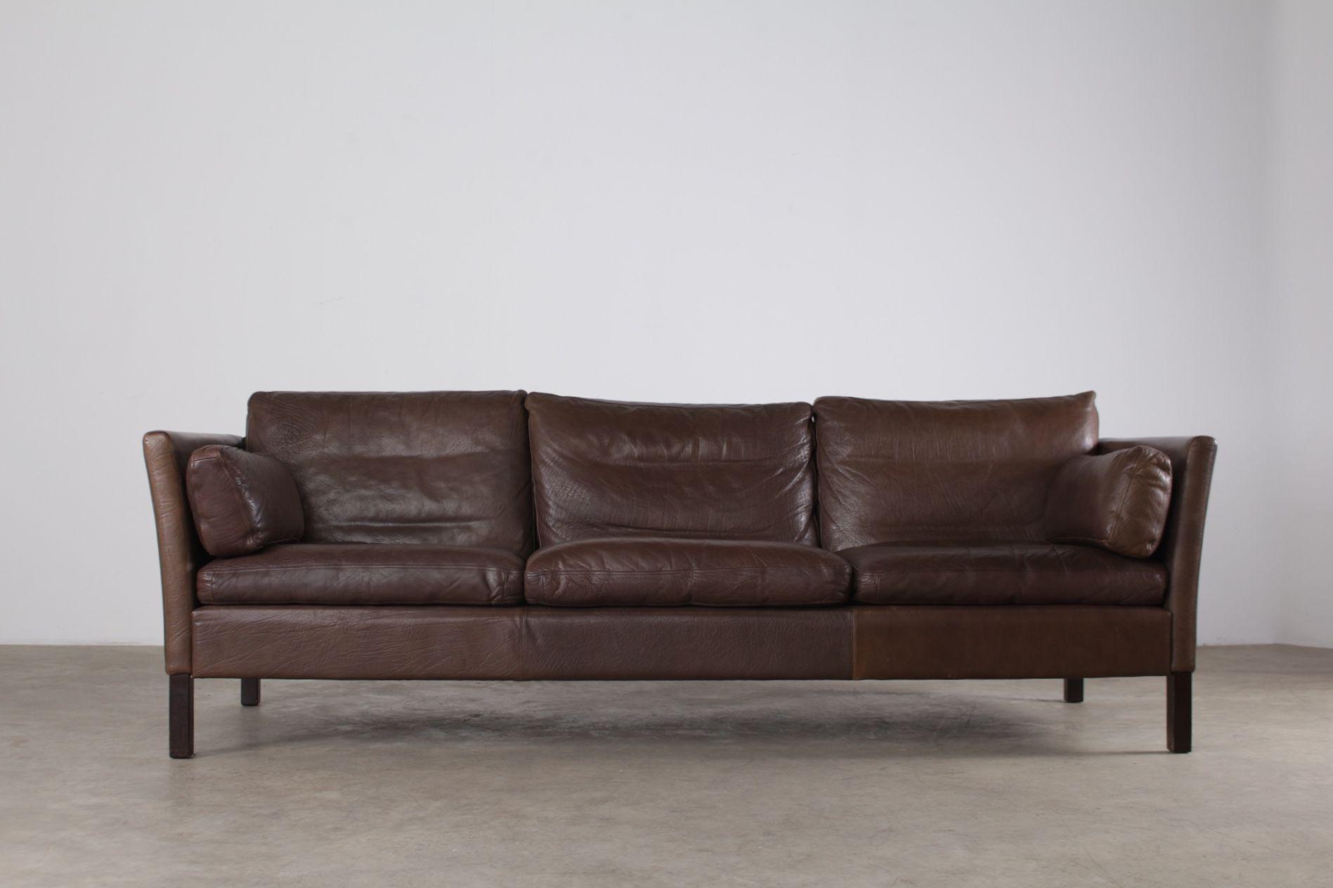 Divan Canapé Sofa Vintage Cuir Scandinave Danemark Style Mogensen