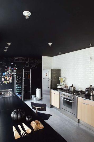 Deco noir et blanc table salon Kitchens, Kitchen dining and Interiors