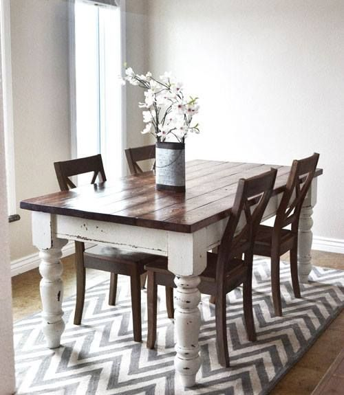 Farm Table Dark Top Distressed White Legs Dining Room