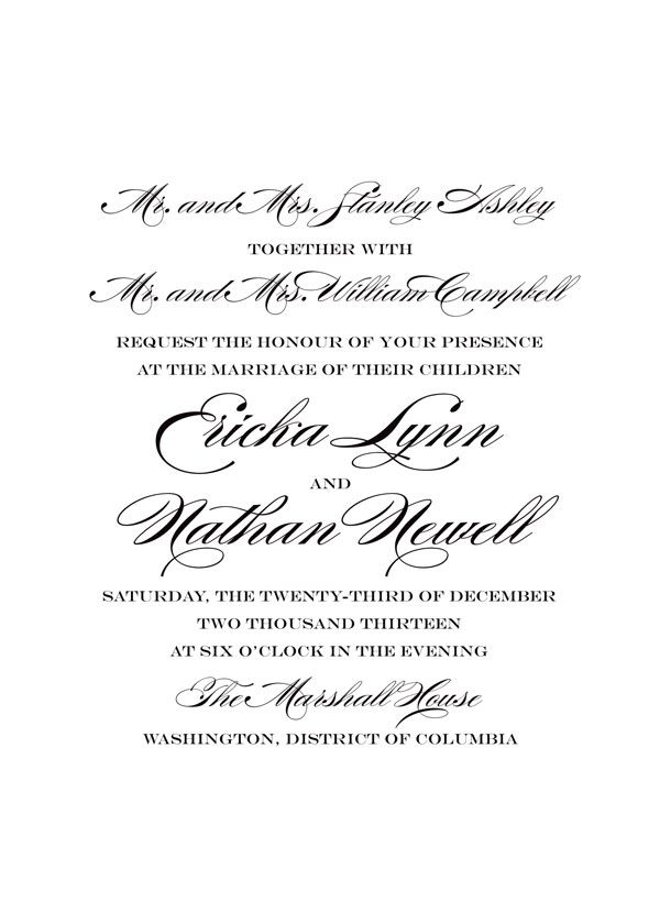 Invitation Wording For Wedding Couple Hosting: Traditional Wedding Invitation Wording
