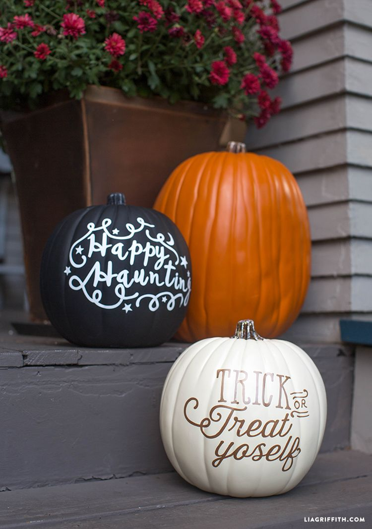 Vinyl Lettered Diy Pumpkins No Carve Pumpkin Decorating Pumpkin