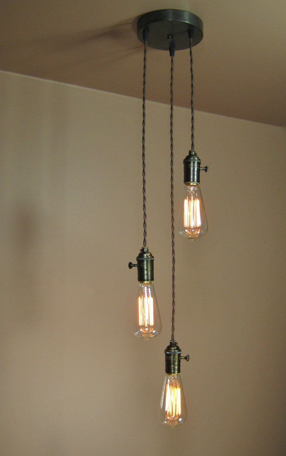 3 Light Chandelier Cascading Pendant Lights With Edison Light