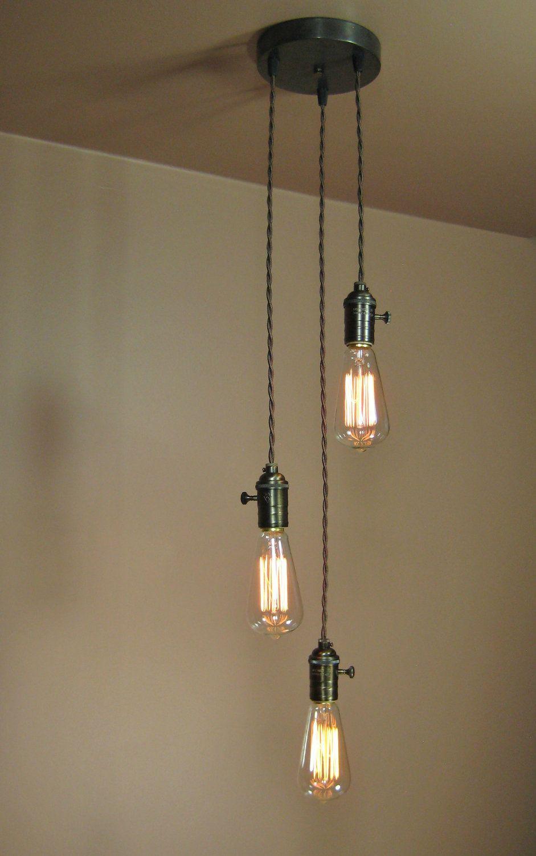 pendant lighting edison. 3 Light Chandelier - Cascading Pendant Lights With Edison Bulbs Minimalist Home Decor. $209.00, Via Etsy. Lighting P