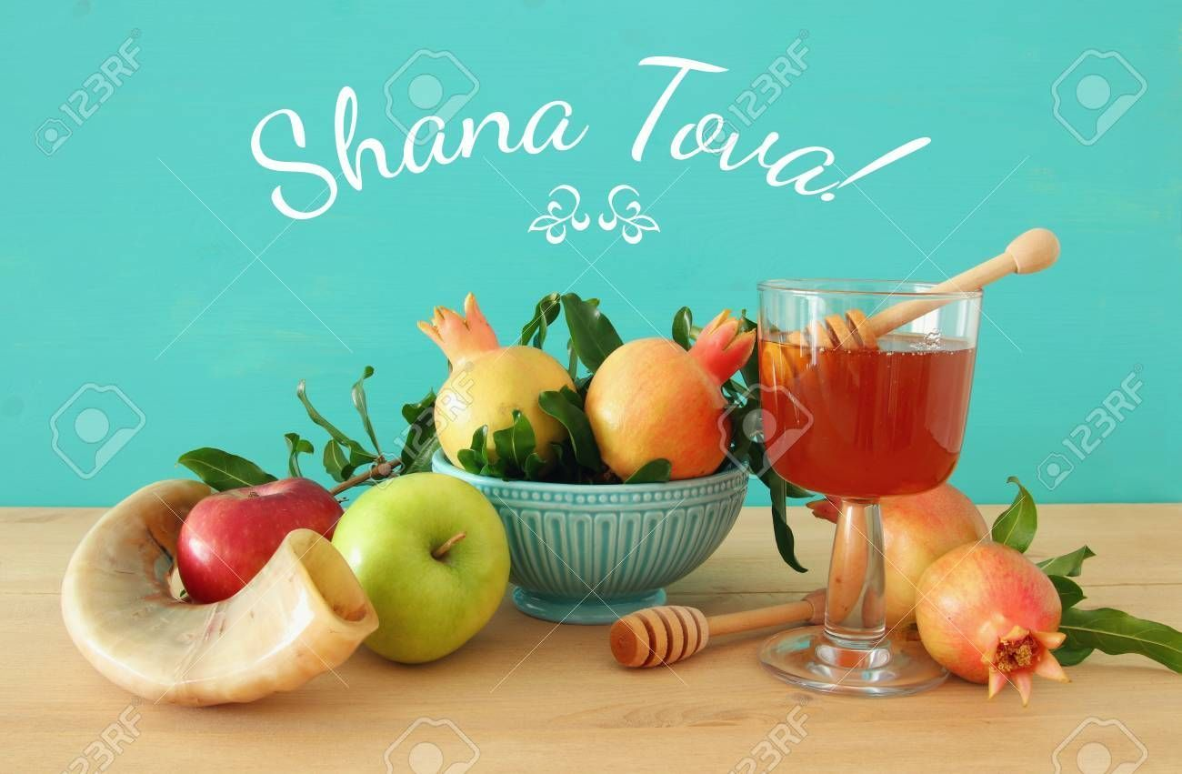 Rosh Hashanah Jewish New Year Holiday Concept Traditional Symbols Text Shana Tova Means Happy New Year New Year Holidays Rosh Hashanah Happy Rosh Hashanah