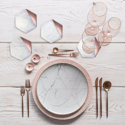 Details About Hexagon Marble Rose Gold Set Of 4 Drink Coasters Bar Coasters Or Home Decor Rose Gold Kitchen Marble Coasters Decor