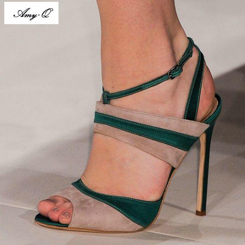 Q + frauen sandalen 2017 mode high heels hochzeit schuhe für frauen dame  sandalen plus size dark grün kaschmir leder //Price: $US $55.00 & FREE  Shipping ...