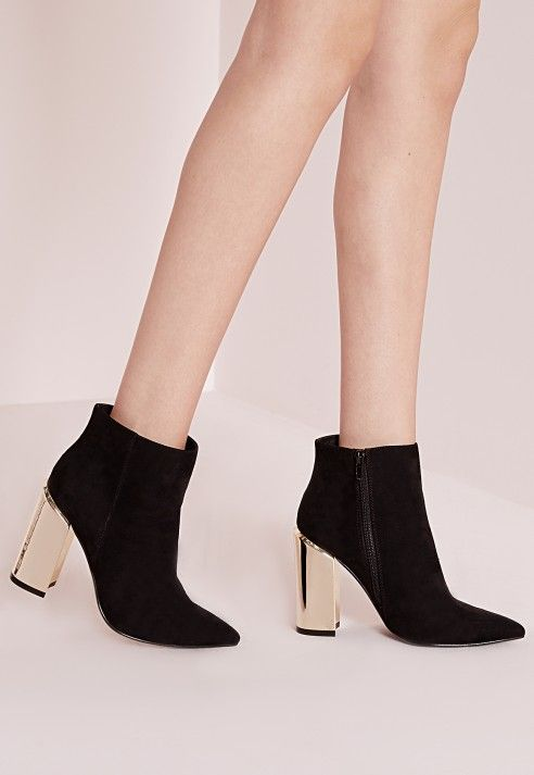 gold plated block heel ankle boots black - footwear - ankle boots ...