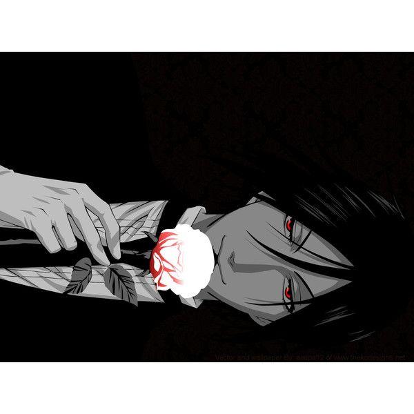 brunettes flowers suit Kuroshitsuji Sebastian Michaelis red eyes anime... ❤ liked on Polyvore featuring anime and black butler
