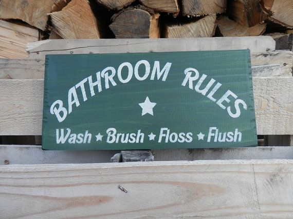 Country Decor Wood Signs Fascinating Bathroom Rules Wash Brush Floss Flush Country Decor Wood Sign Decorating Design