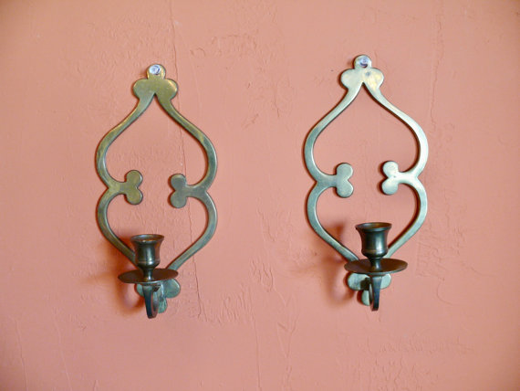2 Brass Taper Candlestick Sconces Scroll Design Wall Sconce Candle Holders Mid Century Rustic Boho Candle Wall Sconces Wall Sconces Sconces