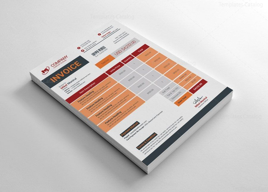 Clean Invoice 003284 - Template Catalog in 2020 | Invoice ...